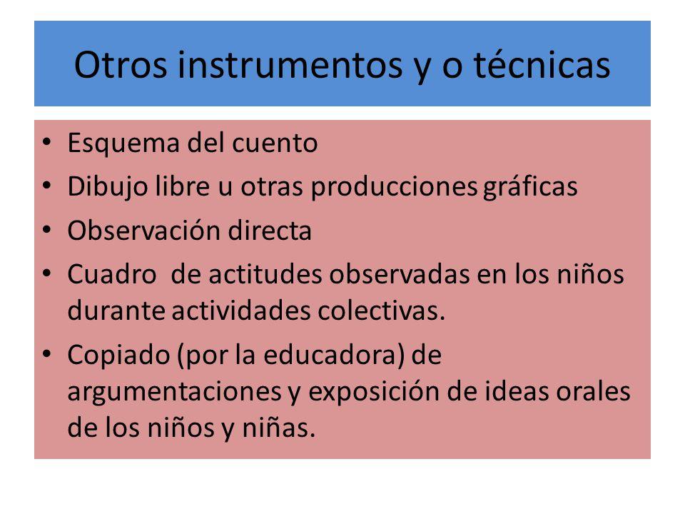 Otros instrumentos y o técnicas Esquema del cuento Dibujo libre u otras producciones gráficas Observación directa Cuadro de actitudes observadas en lo