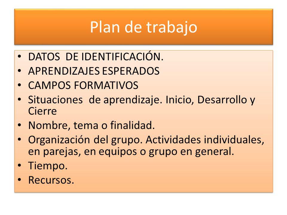 Plan de trabajo DATOS DE IDENTIFICACIÓN. APRENDIZAJES ESPERADOS CAMPOS FORMATIVOS Situaciones de aprendizaje. Inicio, Desarrollo y Cierre Nombre, tema