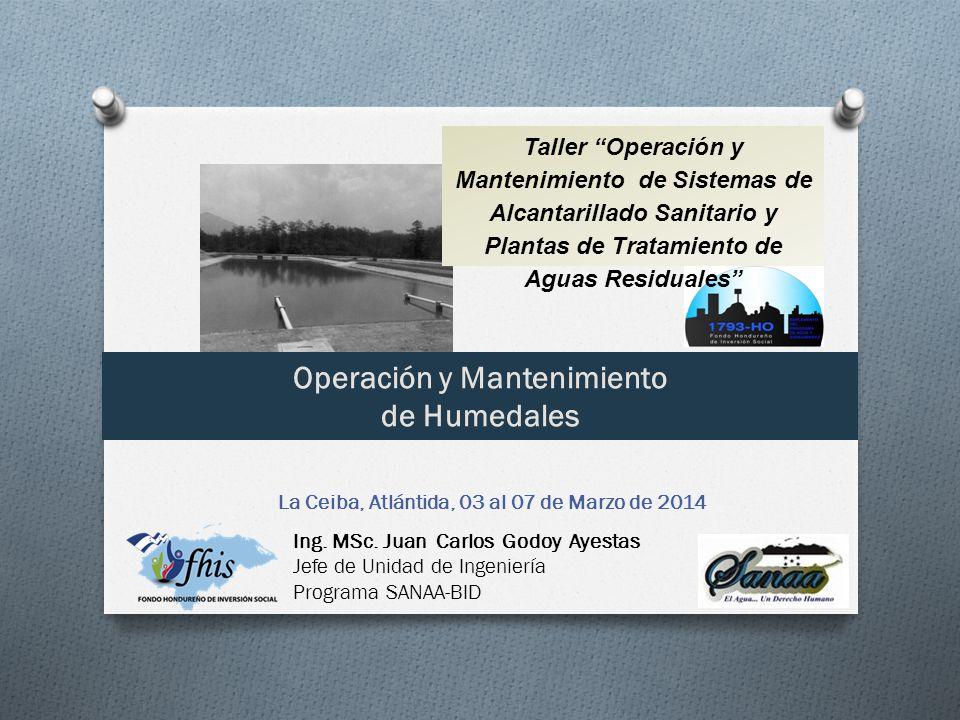 Taller Operación y Mantenimiento de Sistemas de Alcantarillado Sanitario y Plantas de Tratamiento de Aguas Residuales Operación y Mantenimiento de Humedales La Ceiba, Atlántida, 03 al 07 de Marzo de 2014 Ing.