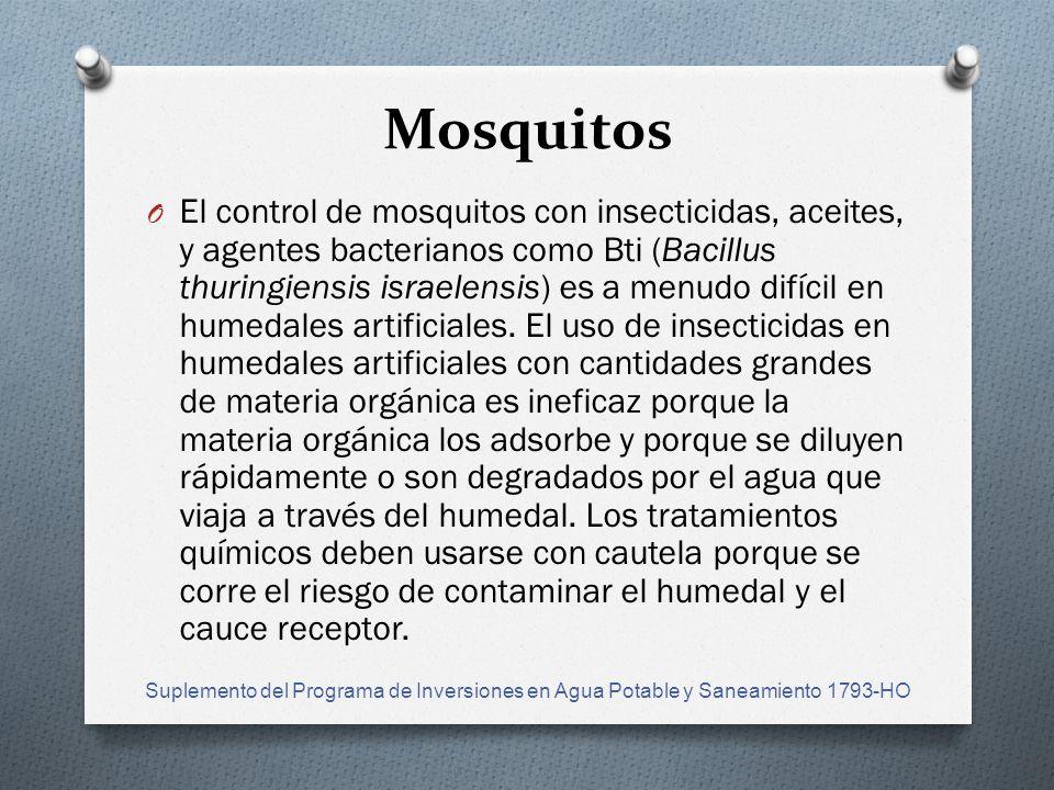 Mosquitos O El control de mosquitos con insecticidas, aceites, y agentes bacterianos como Bti (Bacillus thuringiensis israelensis) es a menudo difícil en humedales artificiales.