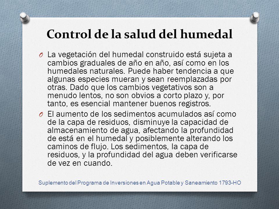 Control de la salud del humedal O La vegetación del humedal construido está sujeta a cambios graduales de año en año, así como en los humedales naturales.