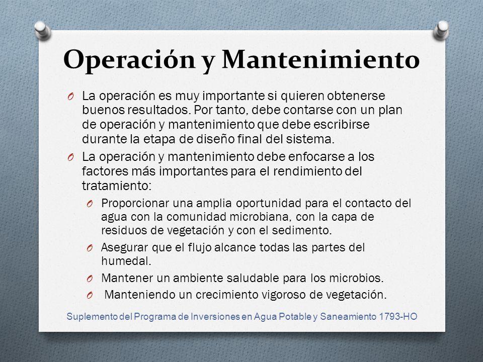 Operación y Mantenimiento O La operación es muy importante si quieren obtenerse buenos resultados.