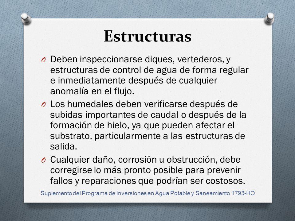 Estructuras O Deben inspeccionarse diques, vertederos, y estructuras de control de agua de forma regular e inmediatamente después de cualquier anomalía en el flujo.