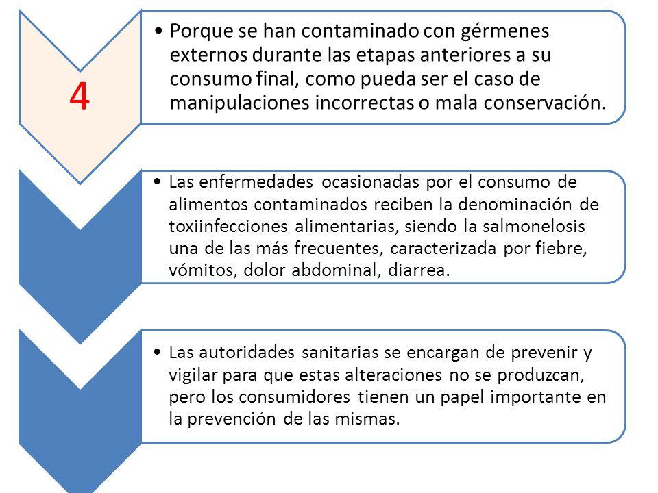 4 Porque se han contaminado con gérmenes externos durante las etapas anteriores a su consumo final, como pueda ser el caso de manipulaciones incorrect