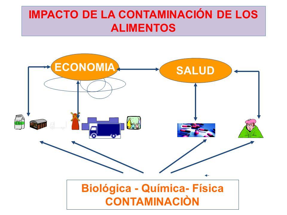 IMPACTO DE LA CONTAMINACIÓN DE LOS ALIMENTOS Biológica - Química- Física CONTAMINACIÒN SALUD ECONOMIA