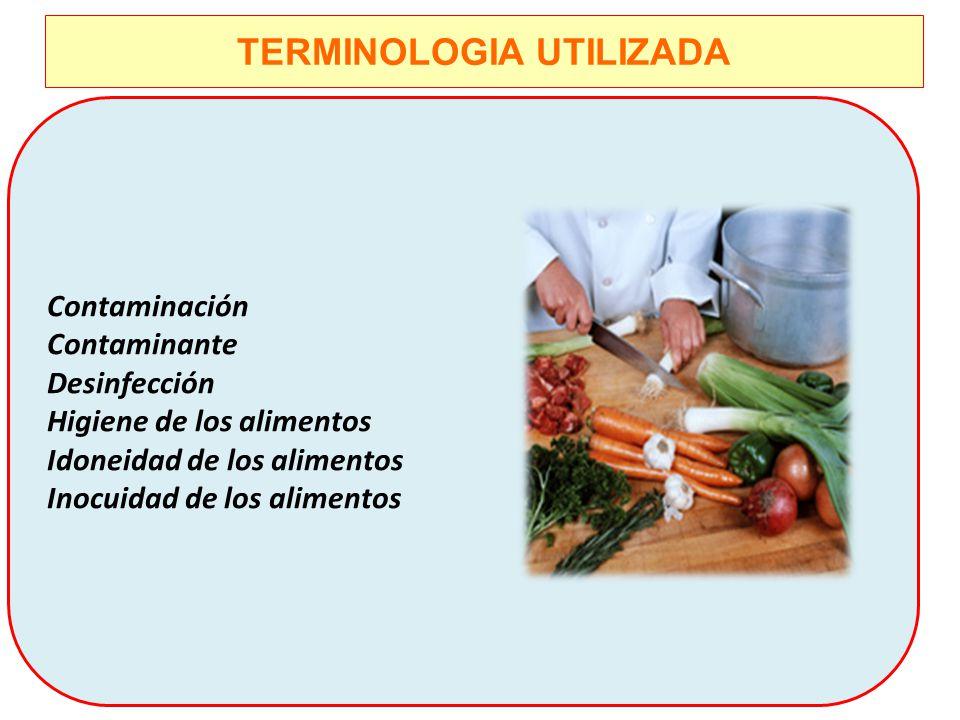 TERMINOLOGIA UTILIZADA Contaminación Contaminante Desinfección Higiene de los alimentos Idoneidad de los alimentos Inocuidad de los alimentos