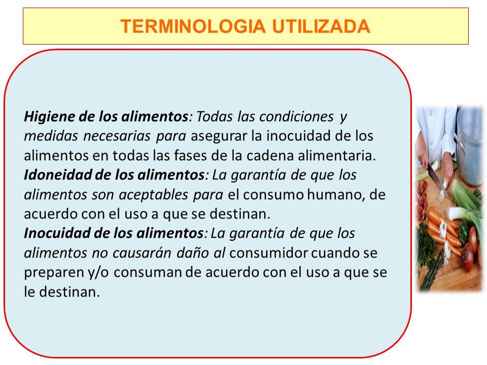 TERMINOLOGIA UTILIZADA Higiene de los alimentos: Todas las condiciones y medidas necesarias para asegurar la inocuidad de los alimentos en todas las f