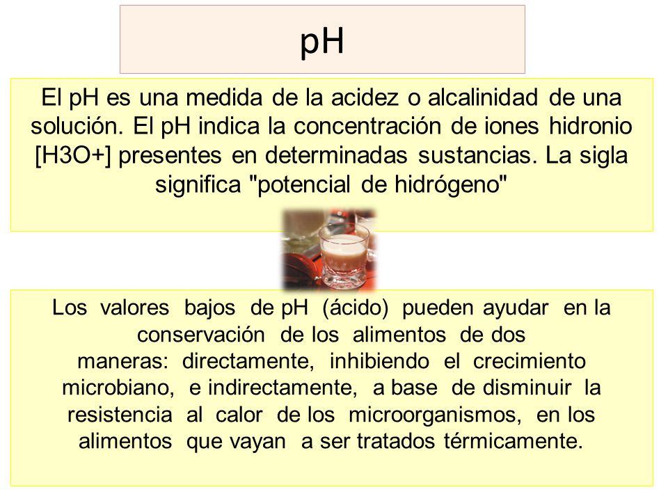 pH El pH es una medida de la acidez o alcalinidad de una solución. El pH indica la concentración de iones hidronio [H3O+] presentes en determinadas su