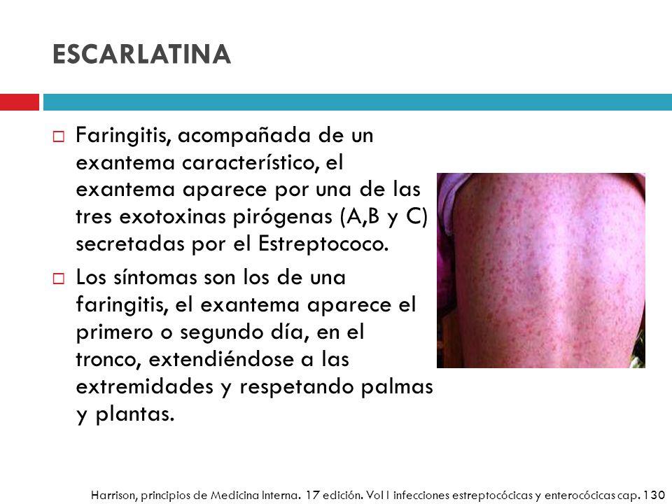 ESCARLATINA Faringitis, acompañada de un exantema característico, el exantema aparece por una de las tres exotoxinas pirógenas (A,B y C) secretadas po