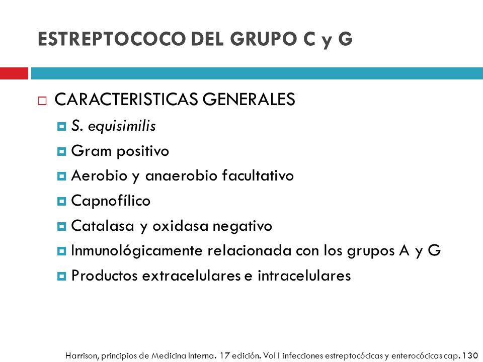 ESTREPTOCOCO DEL GRUPO C y G CARACTERISTICAS GENERALES S. equisimilis Gram positivo Aerobio y anaerobio facultativo Capnofílico Catalasa y oxidasa neg
