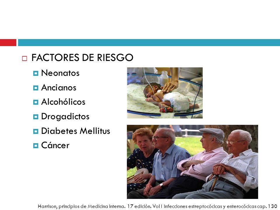 FACTORES DE RIESGO Neonatos Ancianos Alcohólicos Drogadictos Diabetes Mellitus Cáncer Harrison, principios de Medicina Interna. 17 edición. Vol I infe