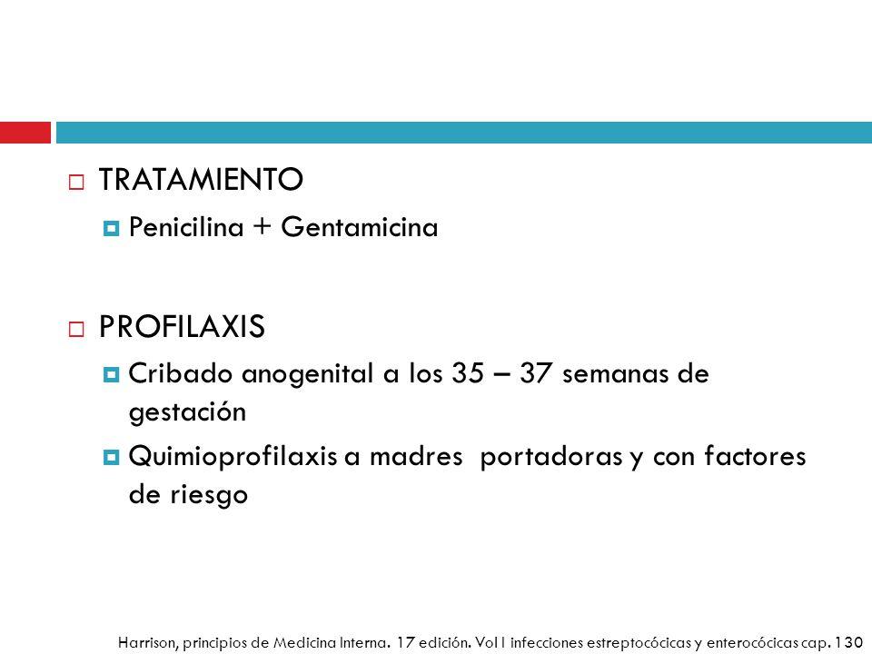 TRATAMIENTO Penicilina + Gentamicina PROFILAXIS Cribado anogenital a los 35 – 37 semanas de gestación Quimioprofilaxis a madres portadoras y con facto