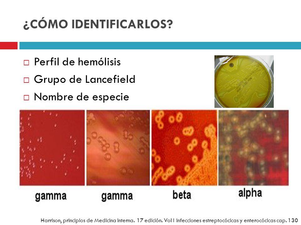 ¿CÓMO IDENTIFICARLOS? Perfil de hemólisis Grupo de Lancefield Nombre de especie Estreptococos vinculados en las infecciones producen una zona de hemól