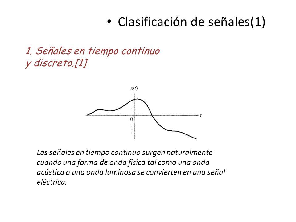 Clasificación de señales(1) 1. Señales en tiempo continuo y discreto.[1] Las señales en tiempo continuo surgen naturalmente cuando una forma de onda f