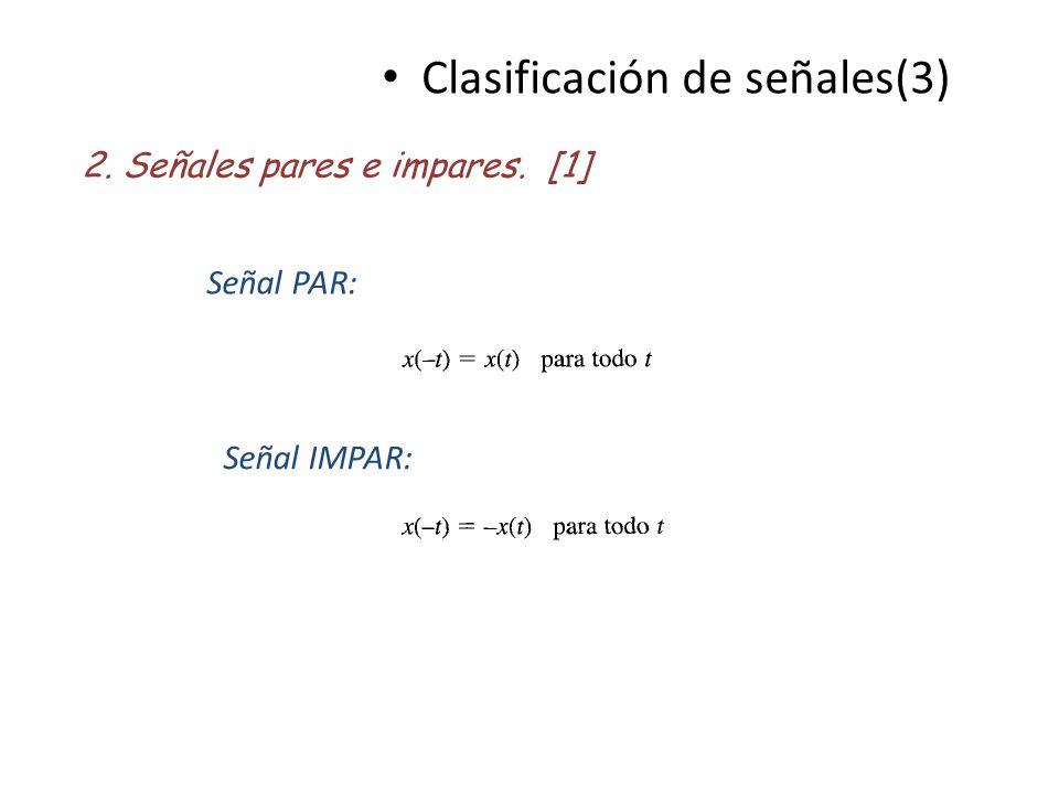 Clasificación de señales(3) 2. Señales pares e impares. [1] Señal PAR: Señal IMPAR: