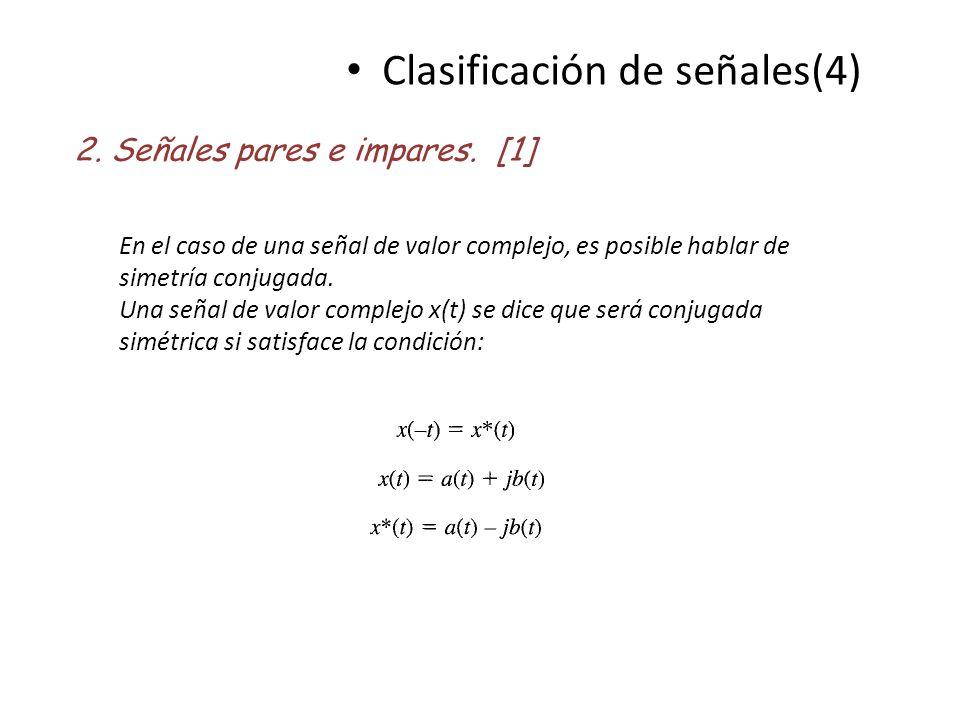 Clasificación de señales(4) 2. Señales pares e impares. [1] En el caso de una señal de valor complejo, es posible hablar de simetría conjugada. Una se