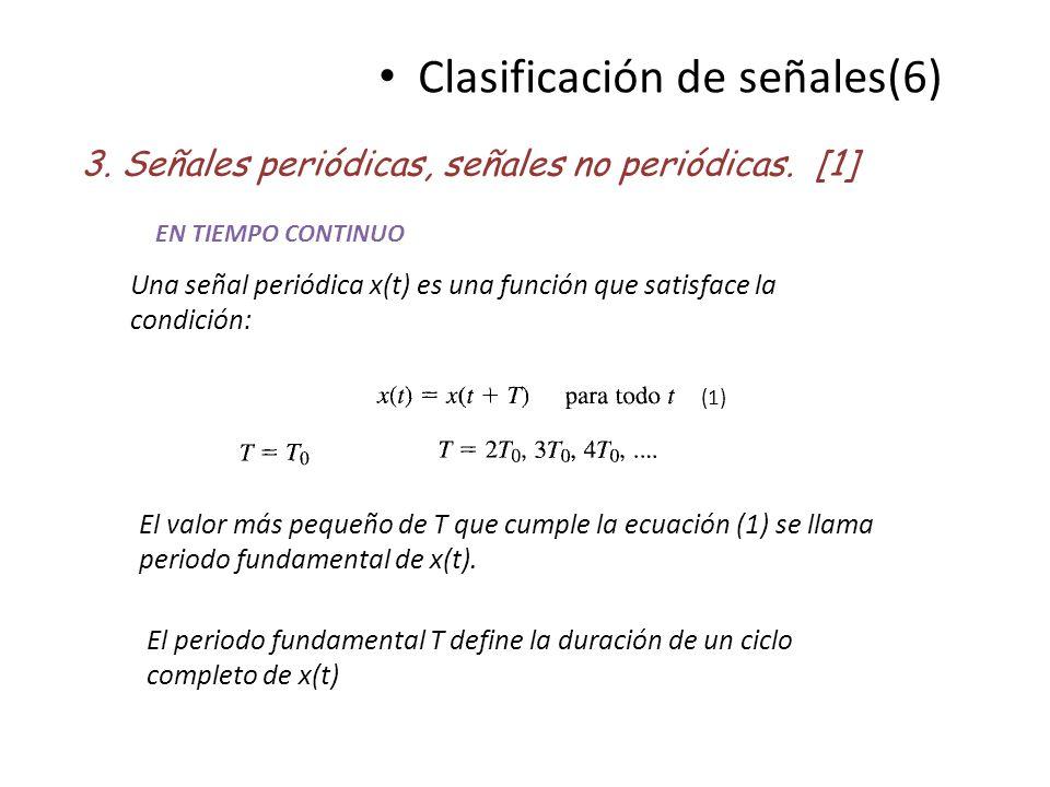 Clasificación de señales(6) 3. Señales periódicas, señales no periódicas. [1] Una señal periódica x(t) es una función que satisface la condición: El v