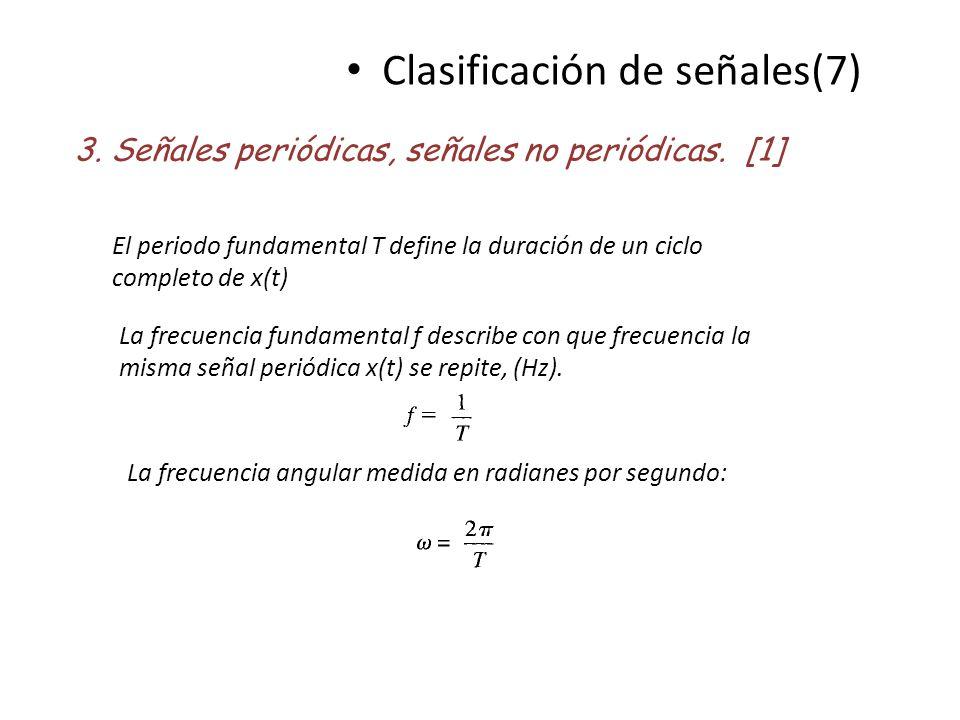 Clasificación de señales(7) 3. Señales periódicas, señales no periódicas. [1] El periodo fundamental T define la duración de un ciclo completo de x(t)