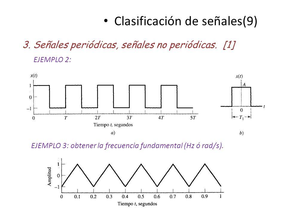 Clasificación de señales(9) 3. Señales periódicas, señales no periódicas. [1] EJEMPLO 2: EJEMPLO 3: obtener la frecuencia fundamental (Hz ó rad/s).