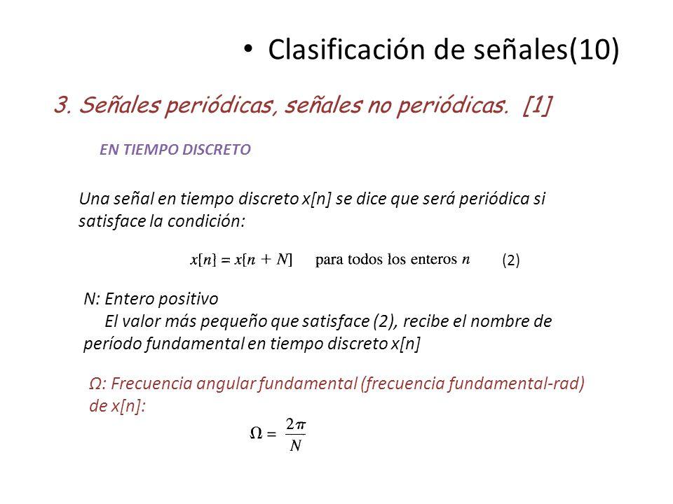 Clasificación de señales(10) 3. Señales periódicas, señales no periódicas. [1] EN TIEMPO DISCRETO Una señal en tiempo discreto x[n] se dice que será p