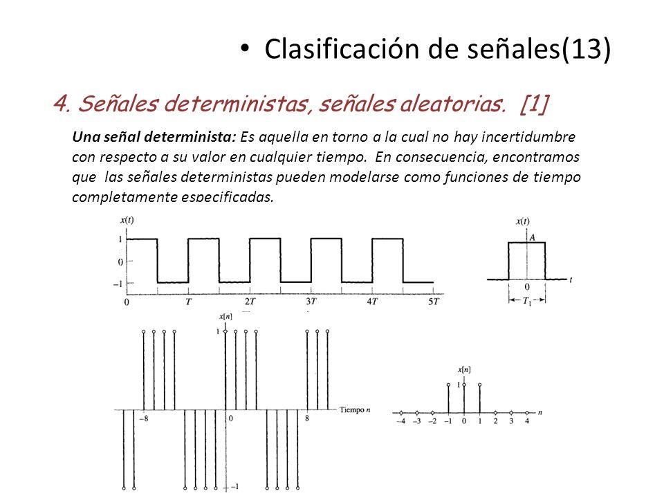 Clasificación de señales(13) 4. Señales deterministas, señales aleatorias. [1] Una señal determinista: Es aquella en torno a la cual no hay incertidum