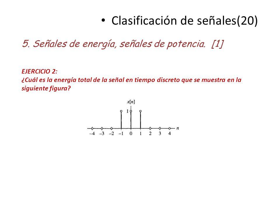 Clasificación de señales(20) 5. Señales de energía, señales de potencia. [1] EJERCICIO 2: ¿Cuál es la energía total de la señal en tiempo discreto que