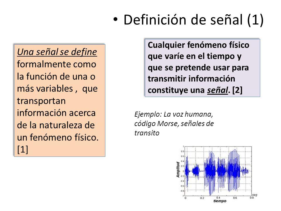 Cualquier fenómeno físico que varíe en el tiempo y que se pretende usar para transmitir información constituye una señal. [2] Definición de señal (1)