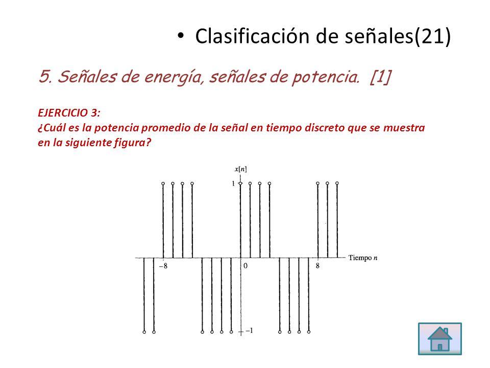 Clasificación de señales(21) 5. Señales de energía, señales de potencia. [1] EJERCICIO 3: ¿Cuál es la potencia promedio de la señal en tiempo discreto