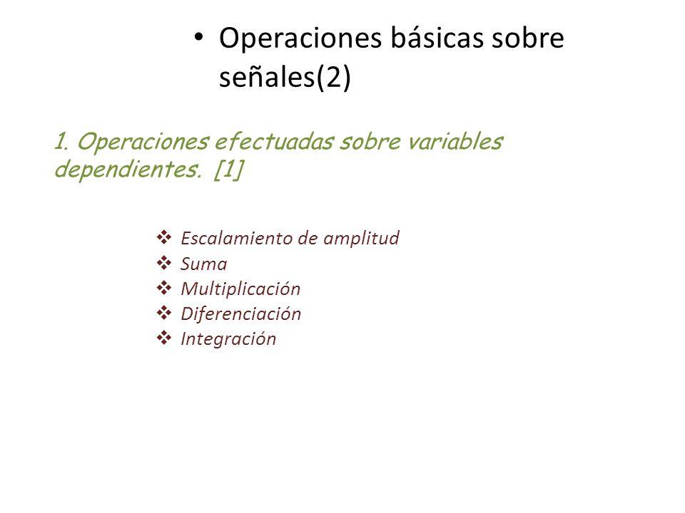 Operaciones básicas sobre señales(2) 1. Operaciones efectuadas sobre variables dependientes. [1] Escalamiento de amplitud Suma Multiplicación Diferenc