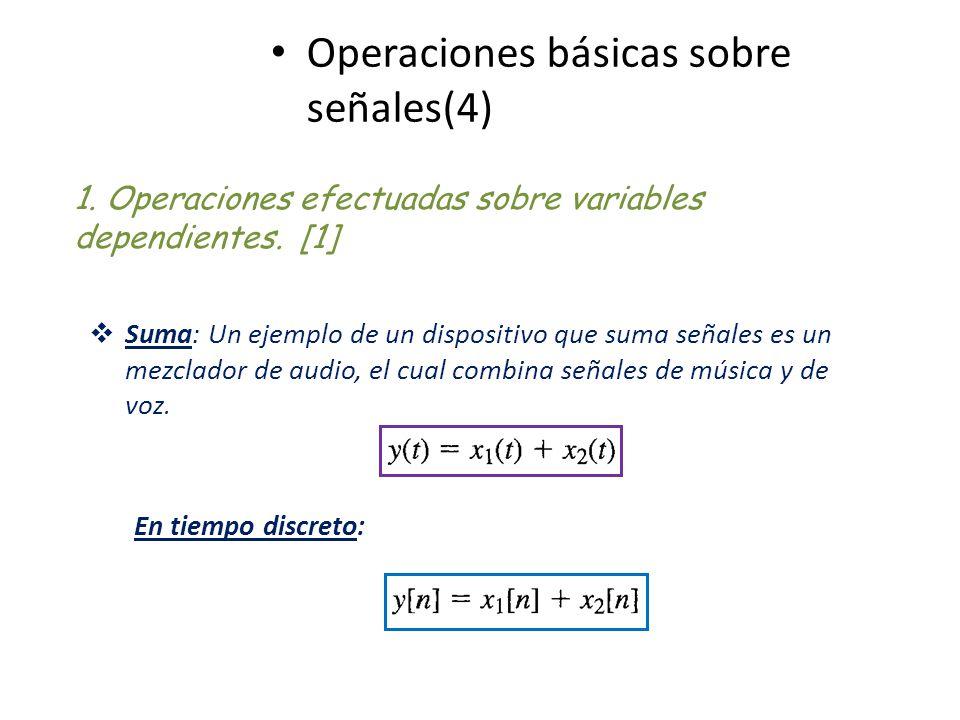 Operaciones básicas sobre señales(4) 1. Operaciones efectuadas sobre variables dependientes. [1] Suma: Un ejemplo de un dispositivo que suma señales e