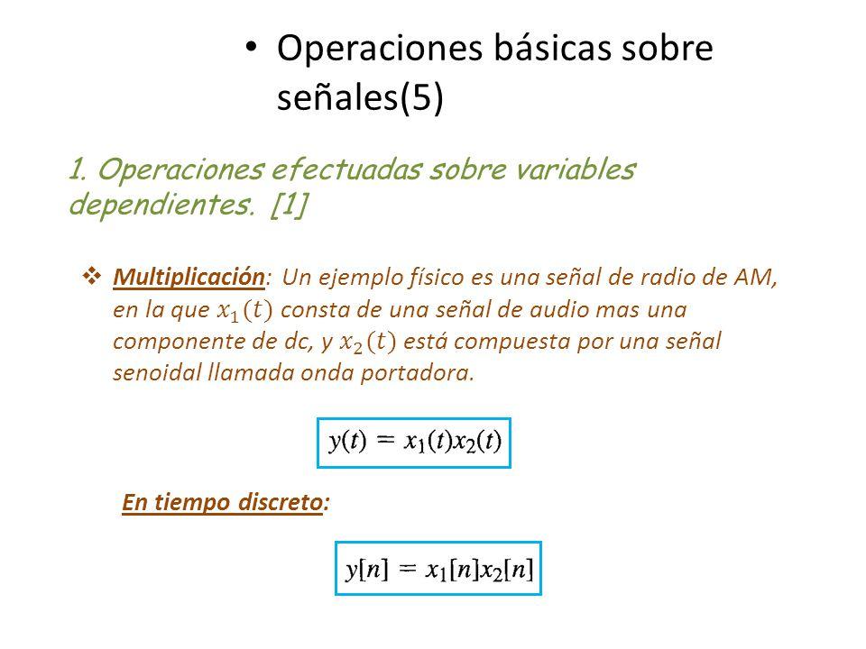 Operaciones básicas sobre señales(5) 1. Operaciones efectuadas sobre variables dependientes. [1] En tiempo discreto: