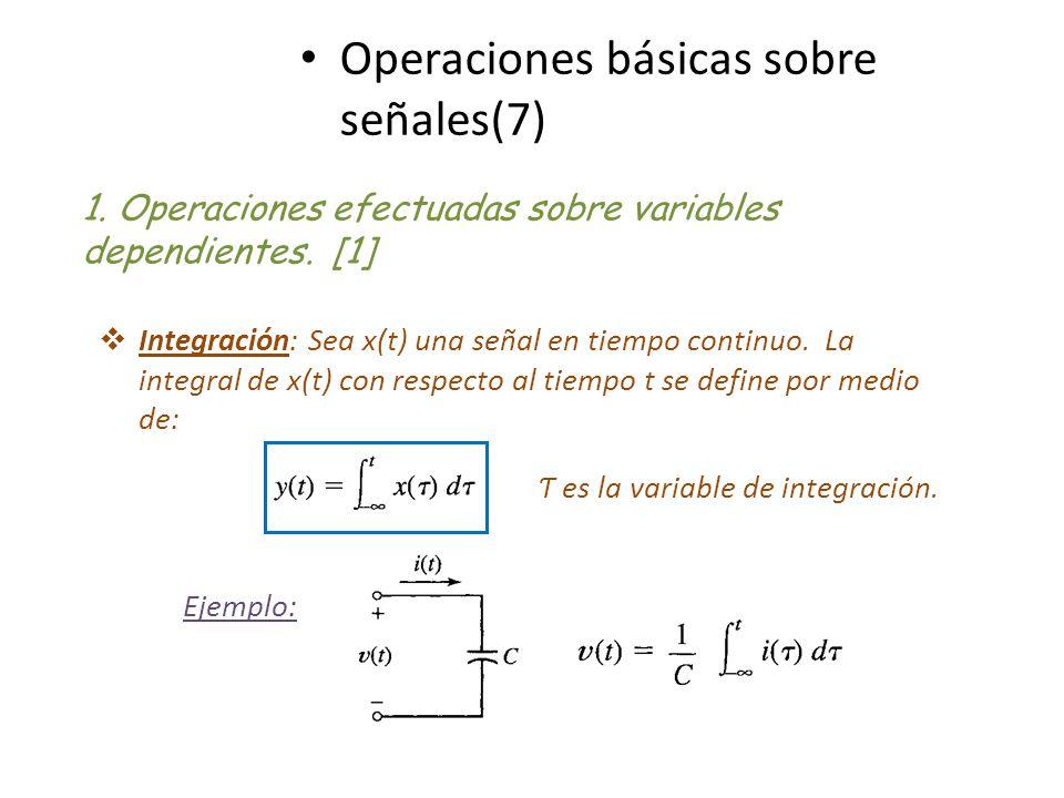 Operaciones básicas sobre señales(7) Integración: Sea x(t) una señal en tiempo continuo. La integral de x(t) con respecto al tiempo t se define por me