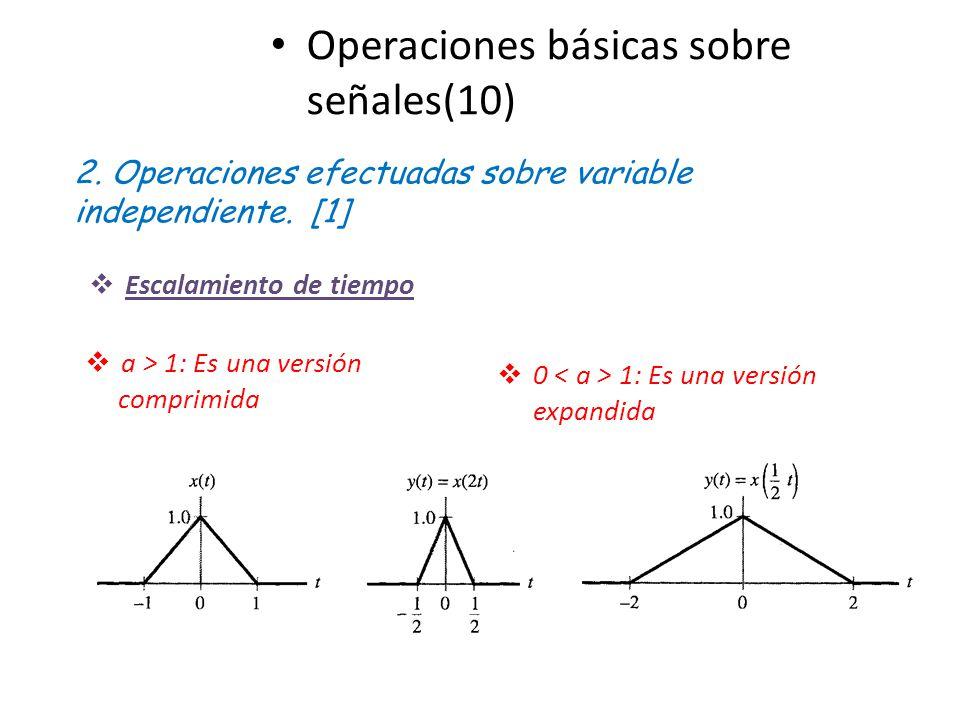 Operaciones básicas sobre señales(10) 2. Operaciones efectuadas sobre variable independiente. [1] a > 1: Es una versión comprimida 0 1: Es una versión