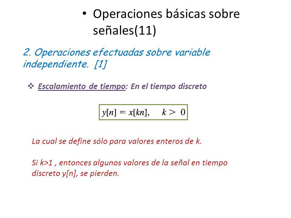 Operaciones básicas sobre señales(11) 2. Operaciones efectuadas sobre variable independiente. [1] Escalamiento de tiempo: En el tiempo discreto La cua