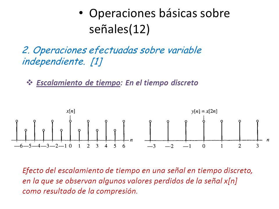 Operaciones básicas sobre señales(12) 2. Operaciones efectuadas sobre variable independiente. [1] Escalamiento de tiempo: En el tiempo discreto Efecto