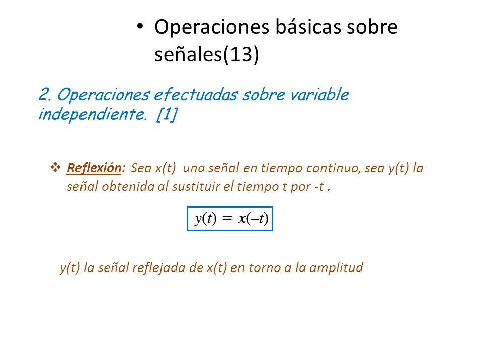 Operaciones básicas sobre señales(13) 2. Operaciones efectuadas sobre variable independiente. [1] Reflexión: Sea x(t) una señal en tiempo continuo, se