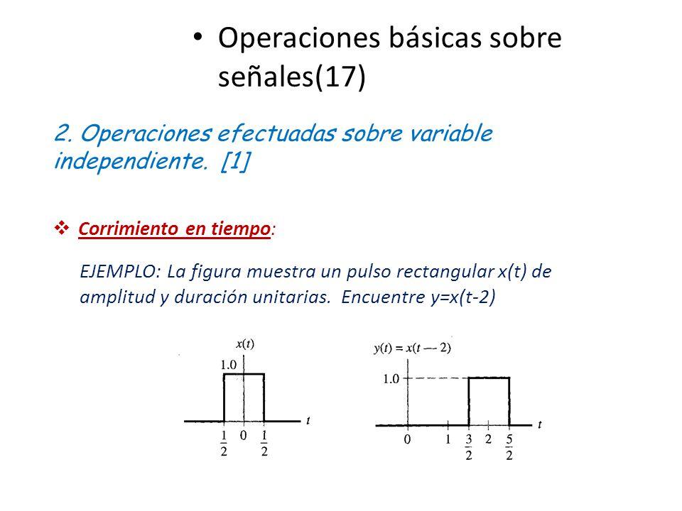 Operaciones básicas sobre señales(17) 2. Operaciones efectuadas sobre variable independiente. [1] Corrimiento en tiempo: EJEMPLO: La figura muestra un