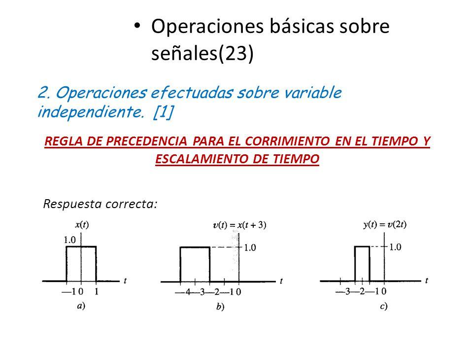 Operaciones básicas sobre señales(23) 2. Operaciones efectuadas sobre variable independiente. [1] REGLA DE PRECEDENCIA PARA EL CORRIMIENTO EN EL TIEMP