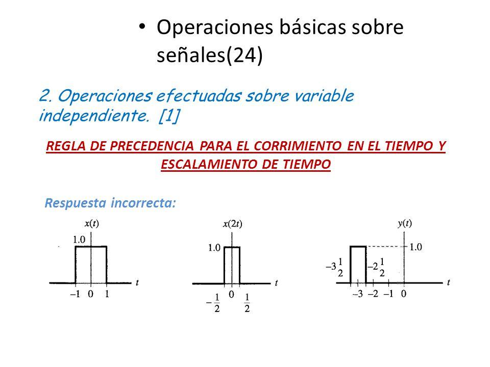 Operaciones básicas sobre señales(24) 2. Operaciones efectuadas sobre variable independiente. [1] REGLA DE PRECEDENCIA PARA EL CORRIMIENTO EN EL TIEMP