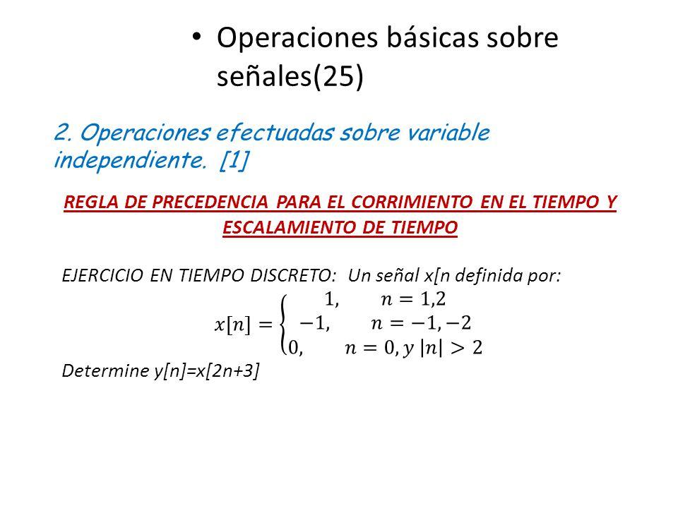 Operaciones básicas sobre señales(25) 2. Operaciones efectuadas sobre variable independiente. [1] REGLA DE PRECEDENCIA PARA EL CORRIMIENTO EN EL TIEMP