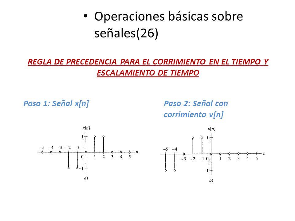 Operaciones básicas sobre señales(26) REGLA DE PRECEDENCIA PARA EL CORRIMIENTO EN EL TIEMPO Y ESCALAMIENTO DE TIEMPO Paso 1: Señal x[n]Paso 2: Señal c