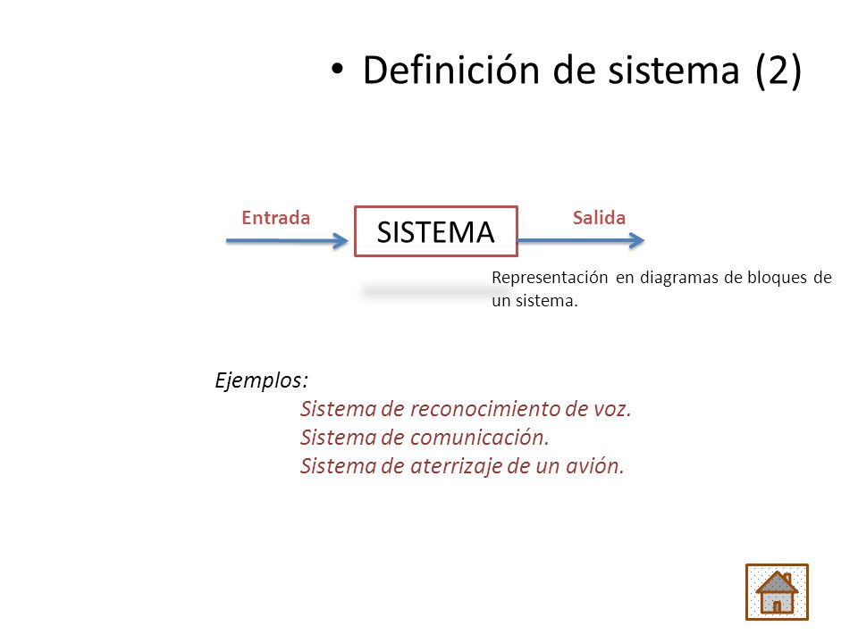 Ejemplos: Sistema de reconocimiento de voz. Sistema de comunicación. Sistema de aterrizaje de un avión. Definición de sistema (2) SISTEMA EntradaSalid