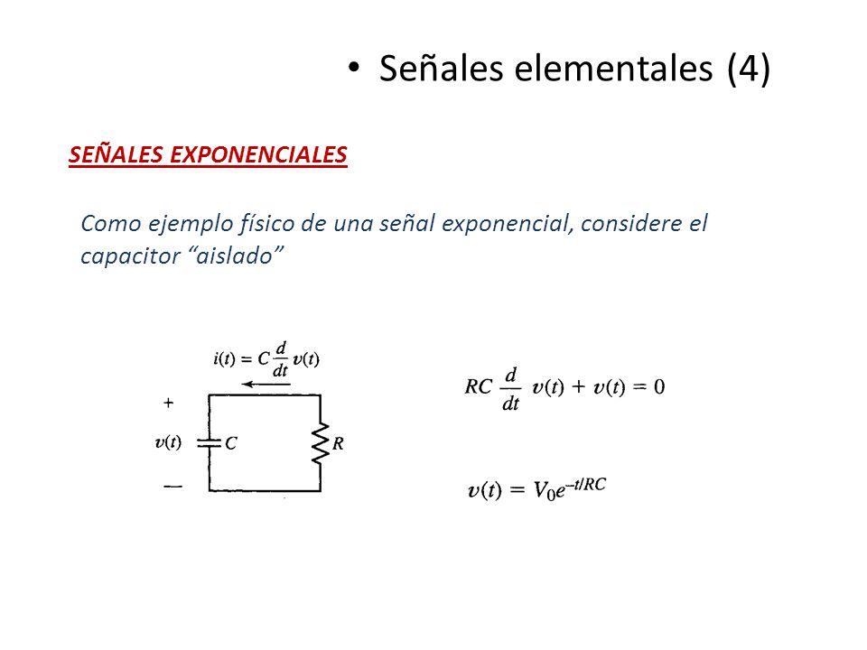 Señales elementales (4) SEÑALES EXPONENCIALES Como ejemplo físico de una señal exponencial, considere el capacitor aislado