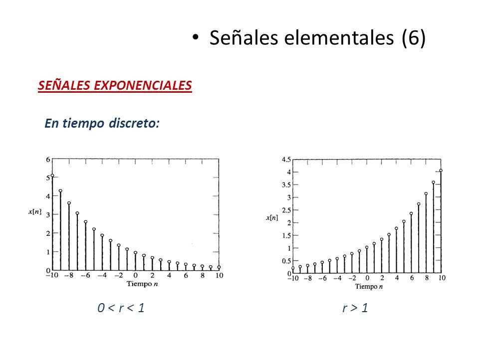 Señales elementales (6) SEÑALES EXPONENCIALES En tiempo discreto: 0 < r < 1 r > 1