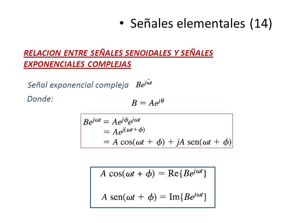 Señales elementales (14) RELACION ENTRE SEÑALES SENOIDALES Y SEÑALES EXPONENCIALES COMPLEJAS Señal exponencial compleja Donde: