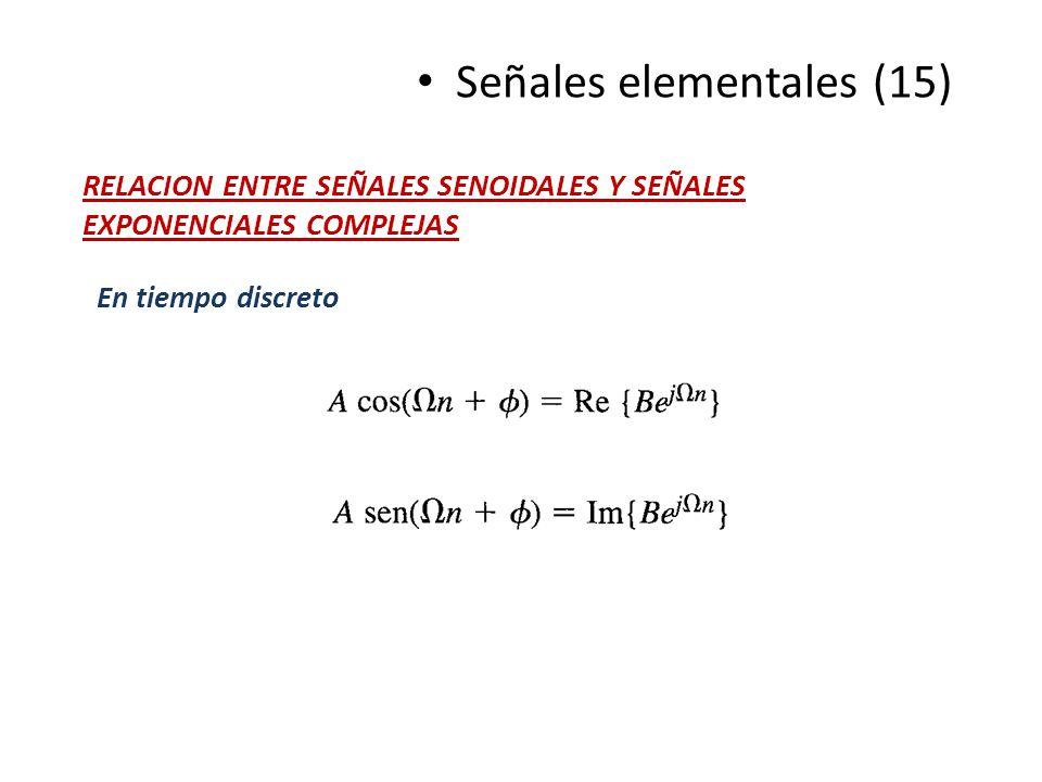 Señales elementales (15) RELACION ENTRE SEÑALES SENOIDALES Y SEÑALES EXPONENCIALES COMPLEJAS En tiempo discreto