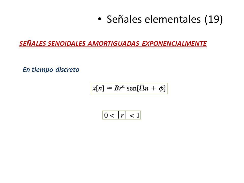 Señales elementales (19) SEÑALES SENOIDALES AMORTIGUADAS EXPONENCIALMENTE En tiempo discreto