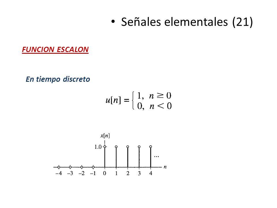 En tiempo discreto Señales elementales (21) FUNCION ESCALON