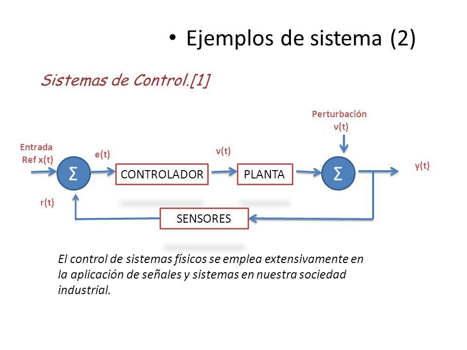 Ejemplos de sistema (2) Sistemas de Control.[1] El control de sistemas físicos se emplea extensivamente en la aplicación de señales y sistemas en nues