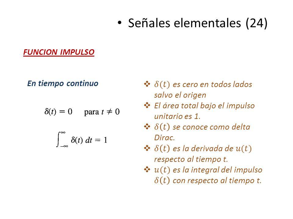 Señales elementales (24) FUNCION IMPULSO En tiempo continuo